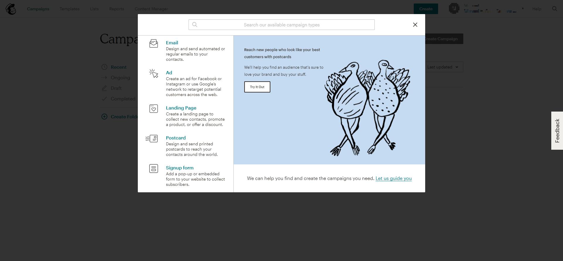 MailChimp campaign types