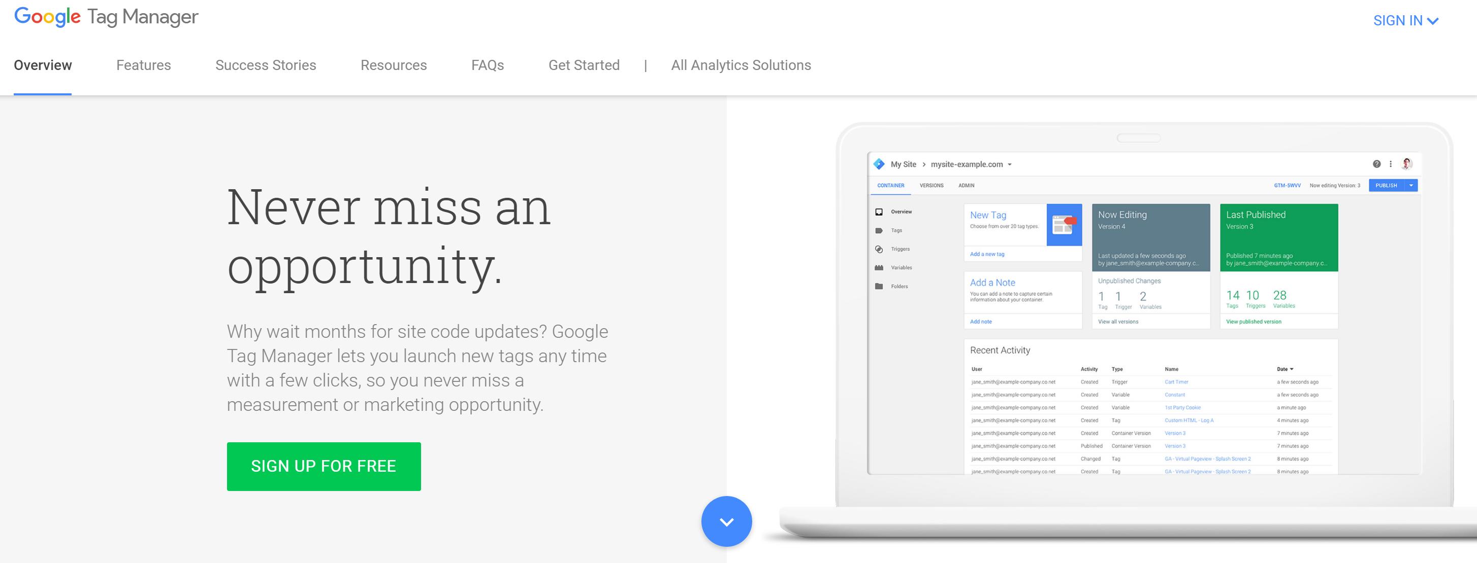 marketing tool: google tag manager