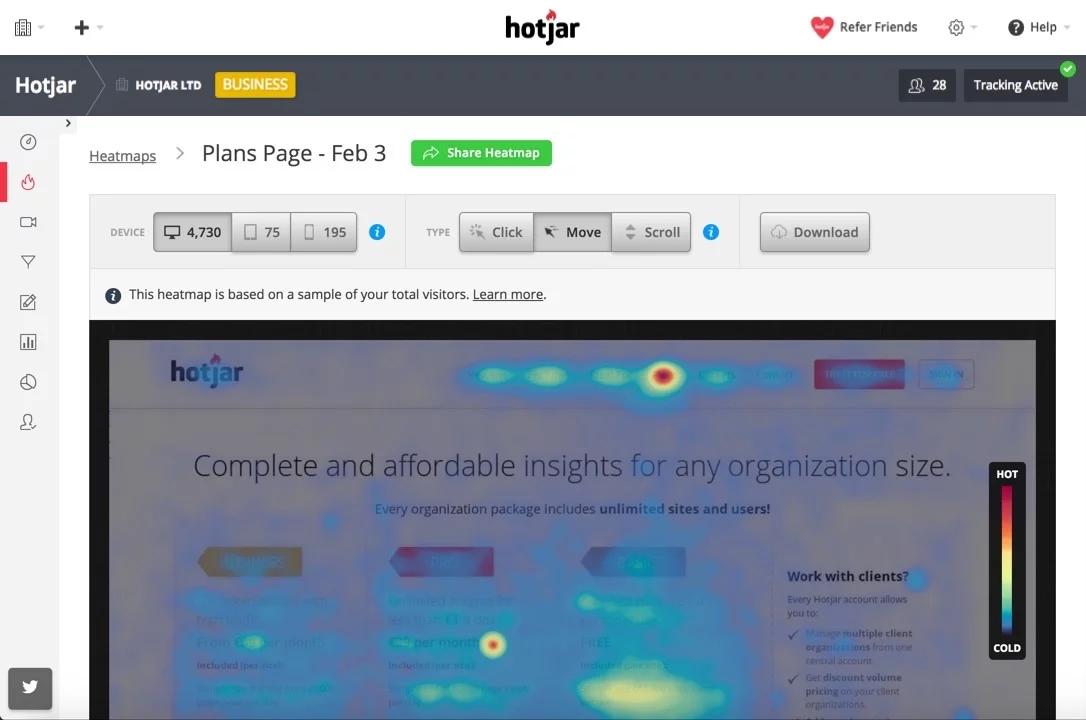 click and move heatmaps