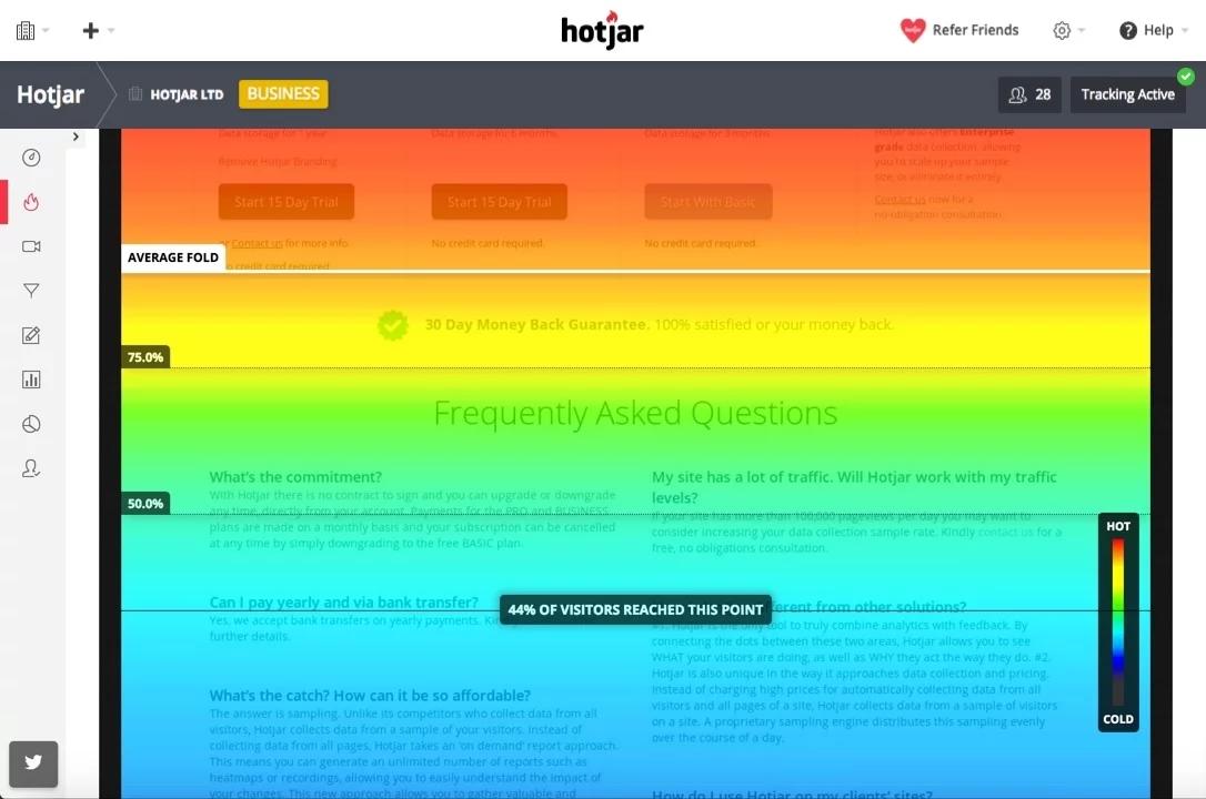 scroll heatmaps in hotjar