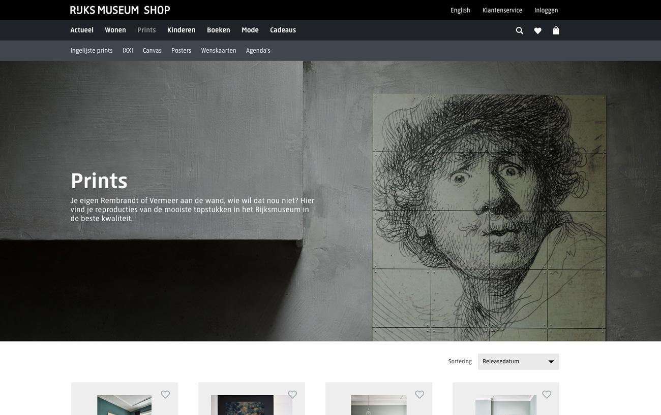 Screenshot website Rijksmuseum Shop