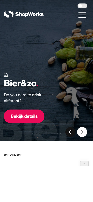 Mobile screen Shopworks Website