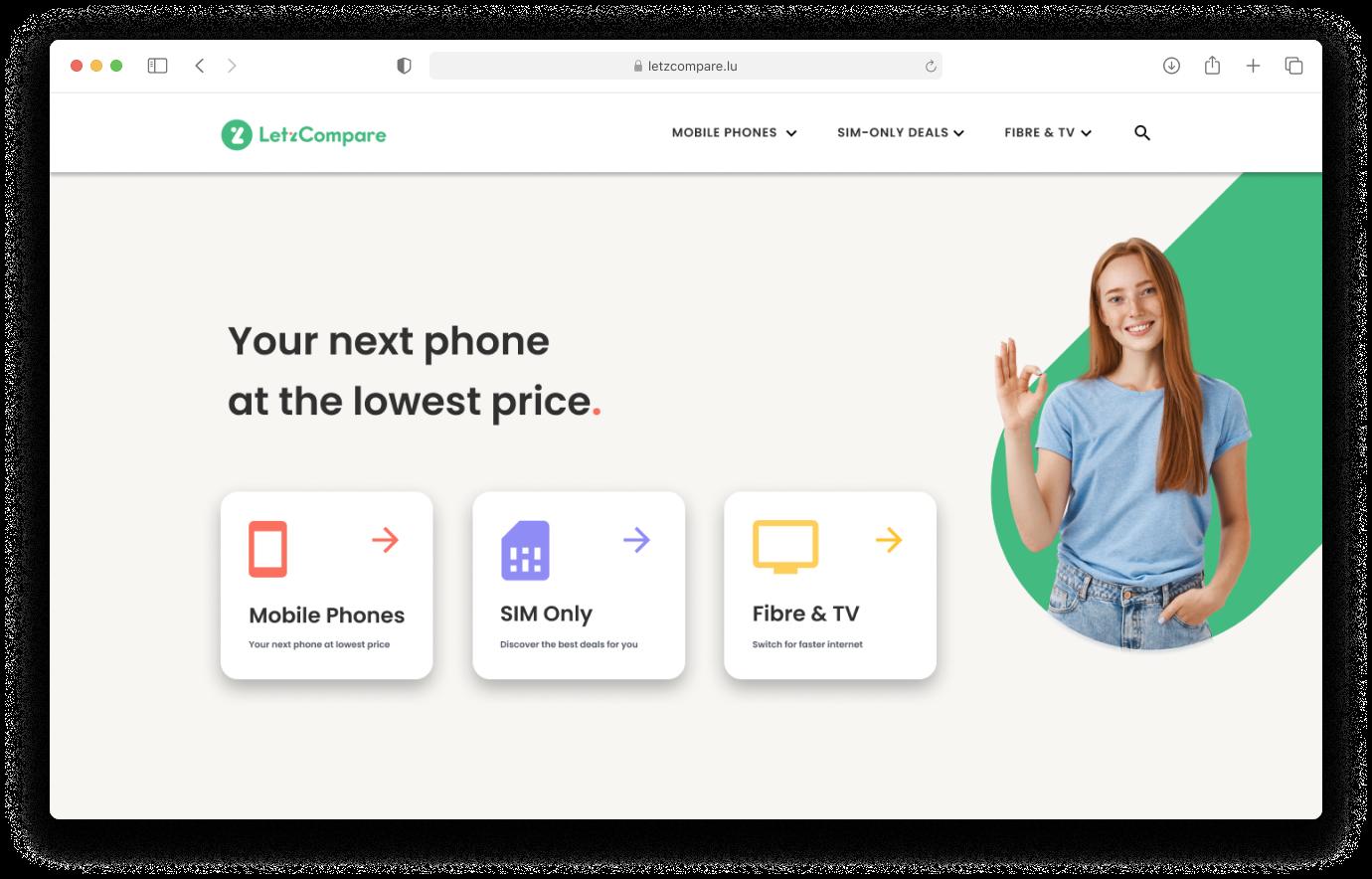 Website's landing page mockup