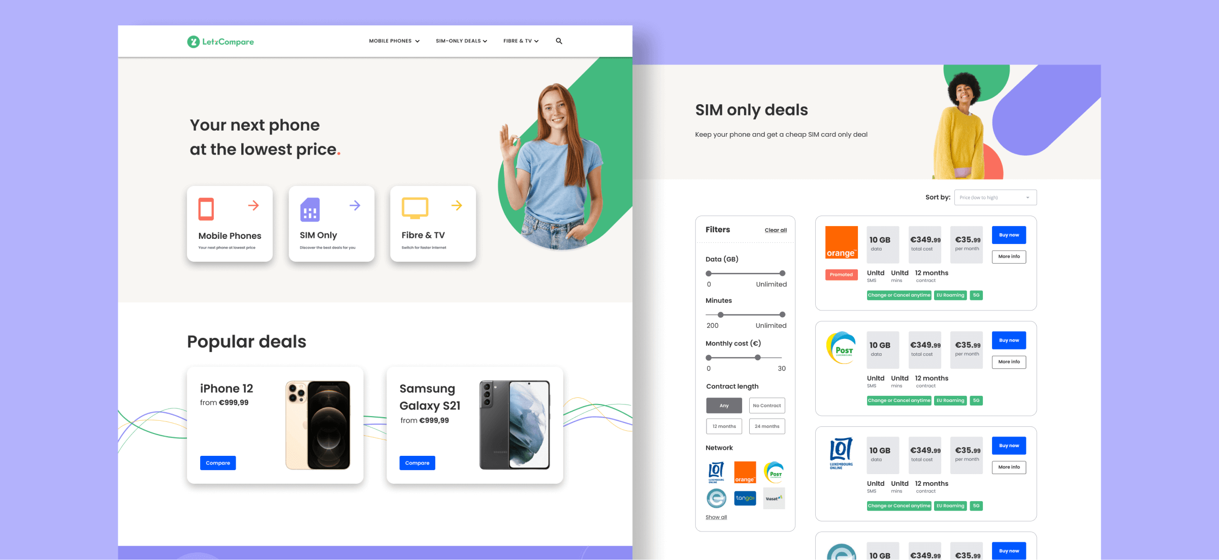 LetzCompare, a price comparison website we built with Bubble