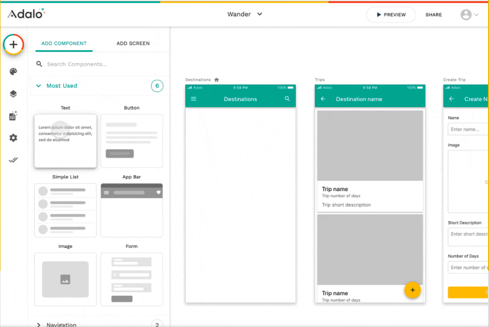 screenshot of Adalo, a No Code tool