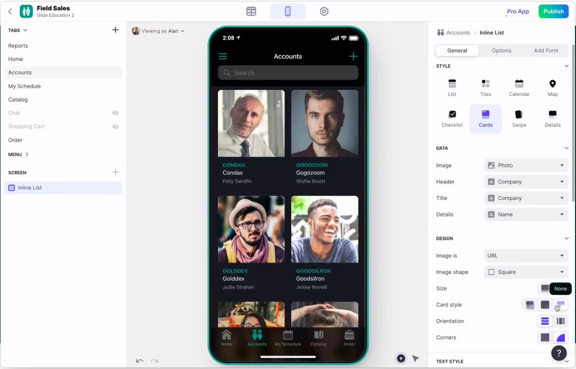 UI of Glide, an app development tool