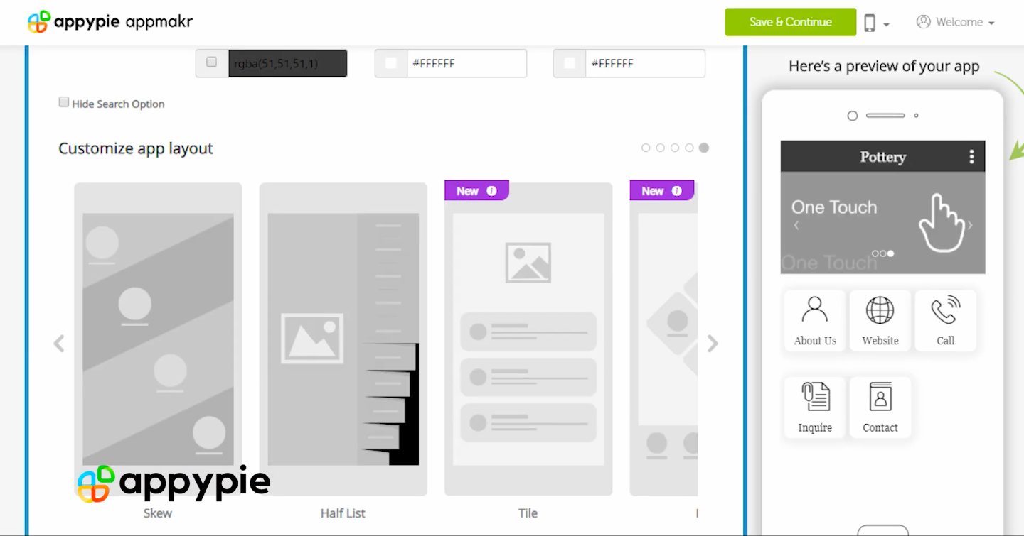 A screenshot of how an app is made using Appypie