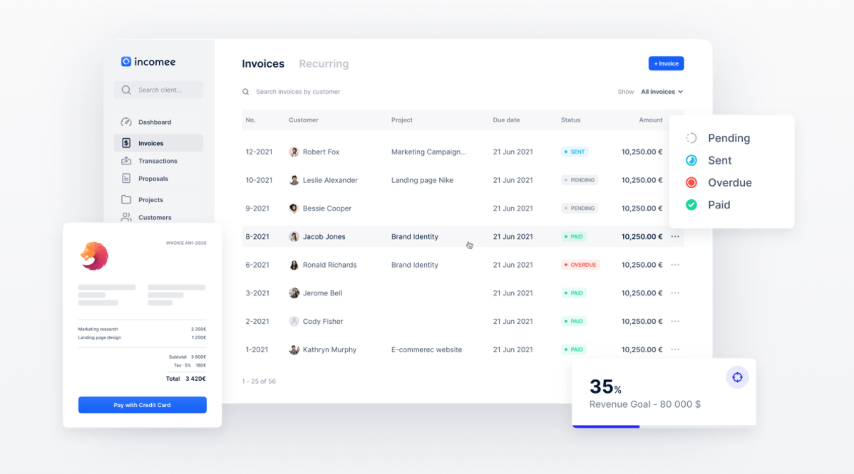 A representation visual for Incomee, an accounting tool built with No Code