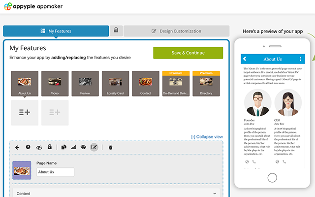User interface of Appypie development
