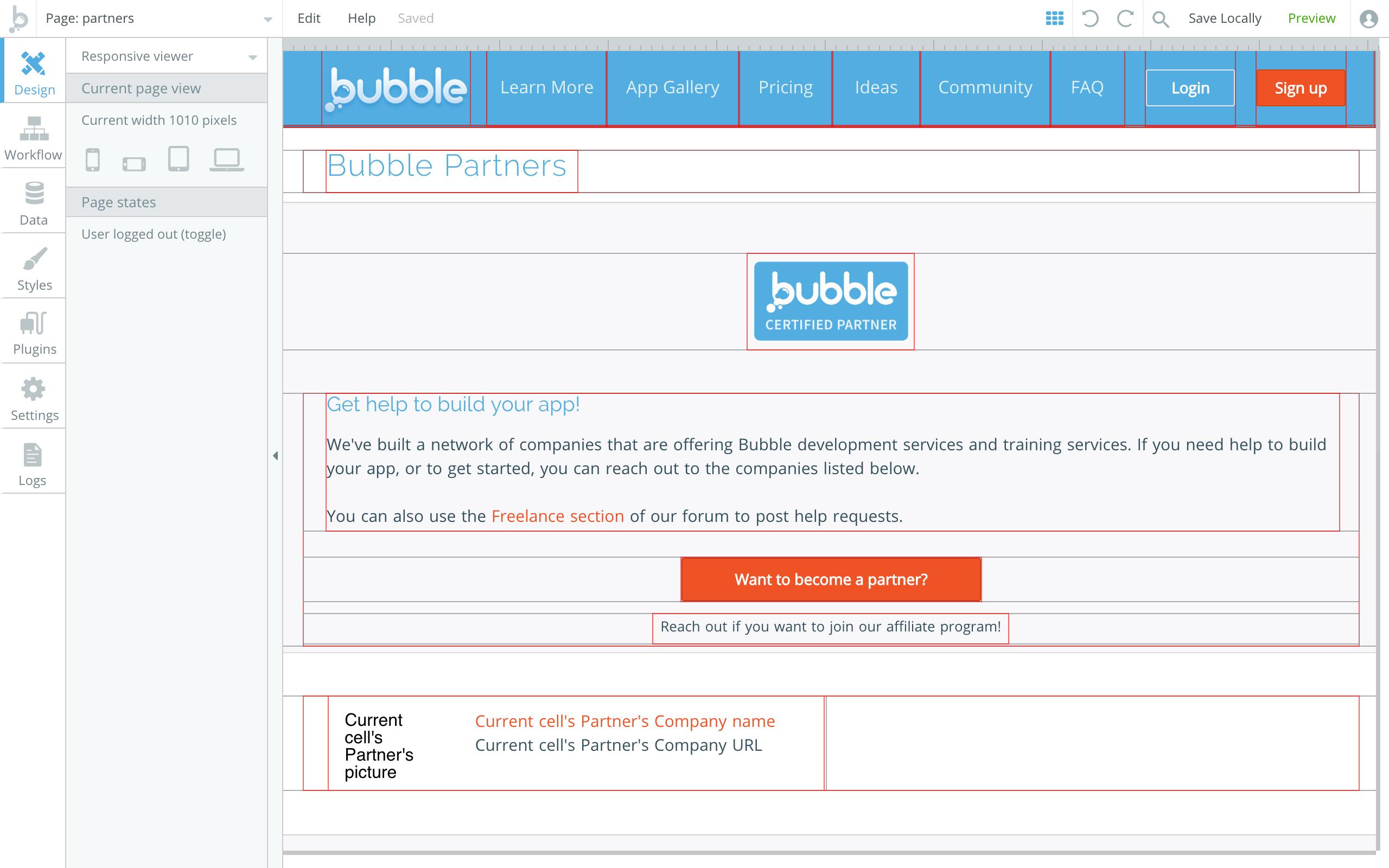 Responsive Design interface of Bubble.io