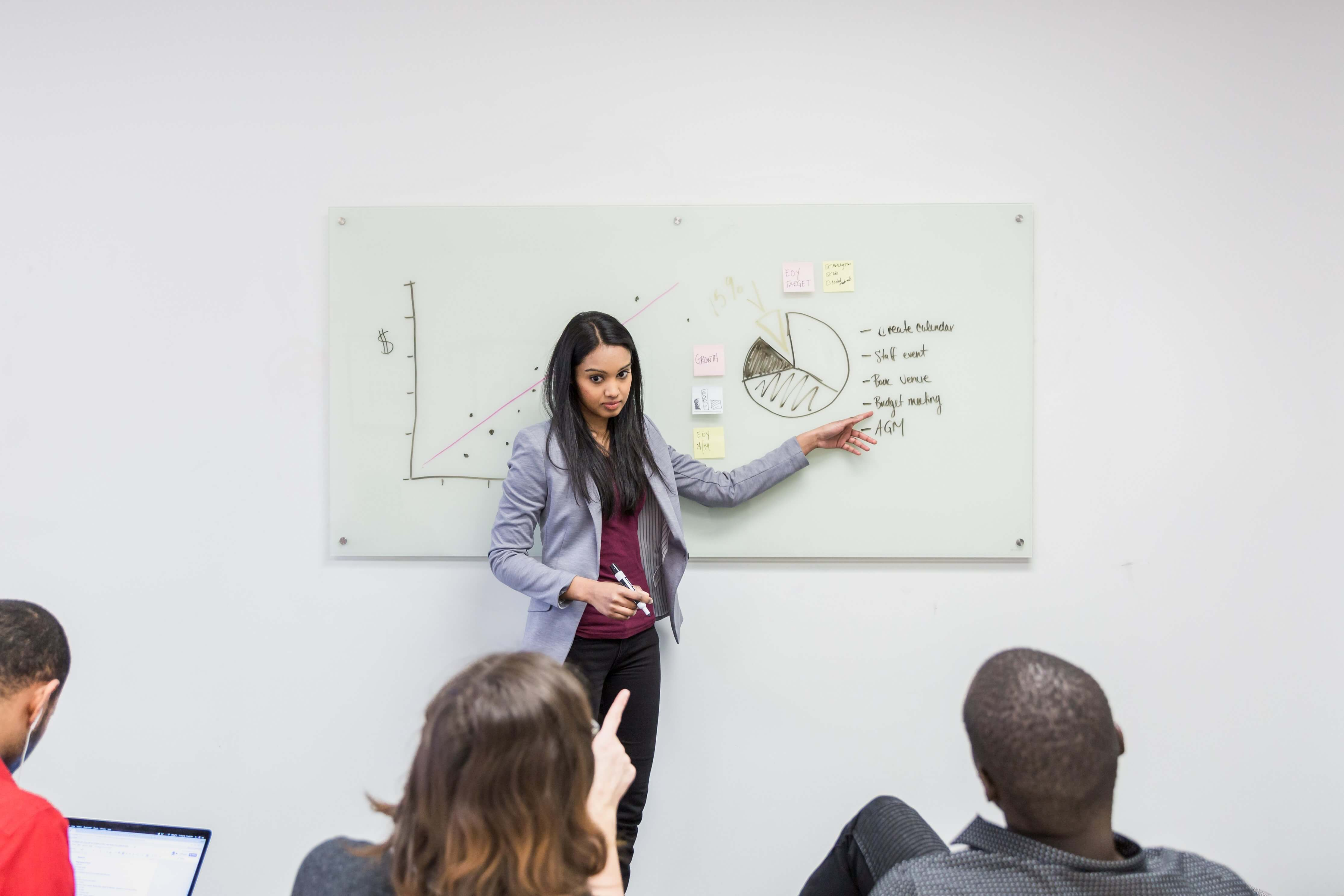 A young woman giving a business presentaion