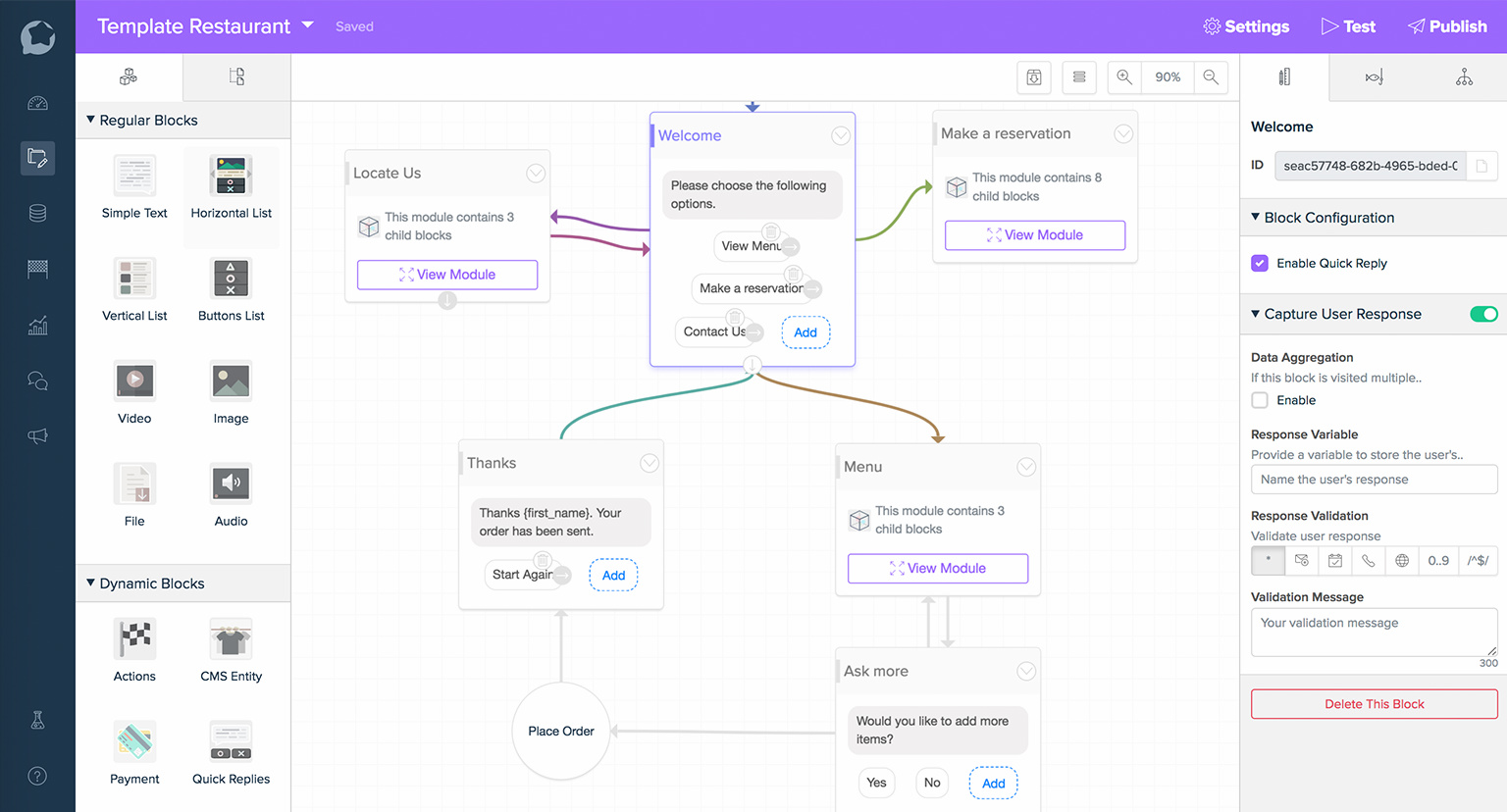 A sample chatbot flow made with BotStar, a No Code tool for making chatbots.