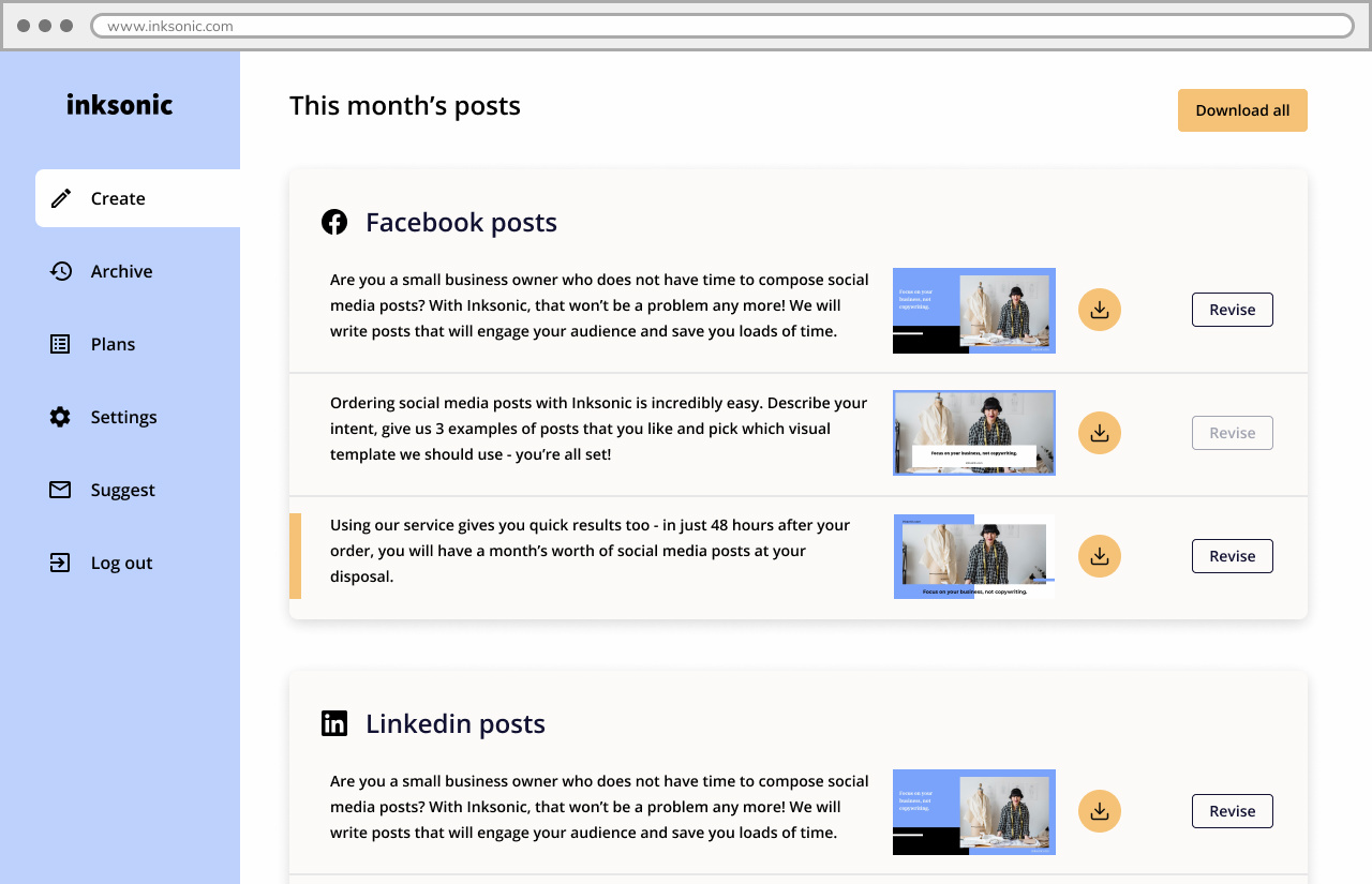 A screenshot of a No Code MVP we made with Bubble for Inksonic, a social media copywriting service
