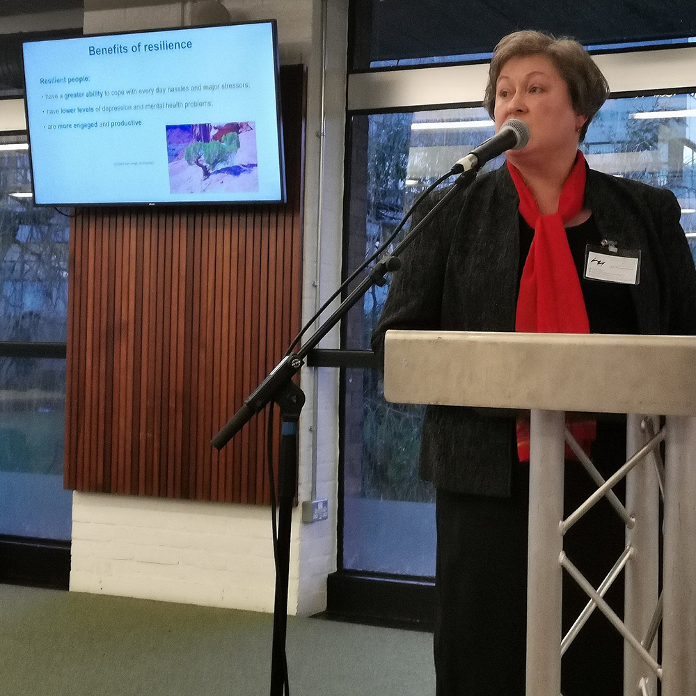 Zoryna speaking at an Isle of Wight networking event