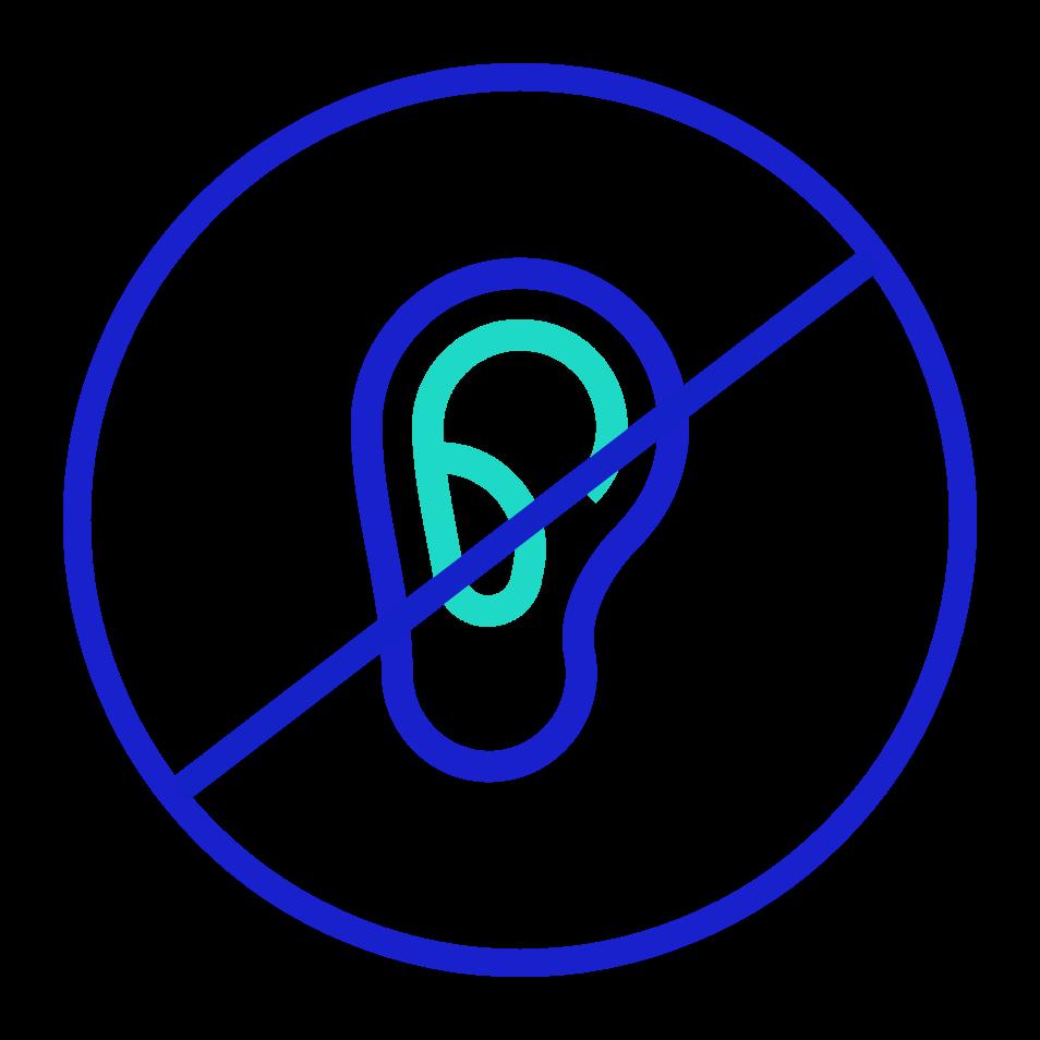Icon: An ear inside a no/cancel sign