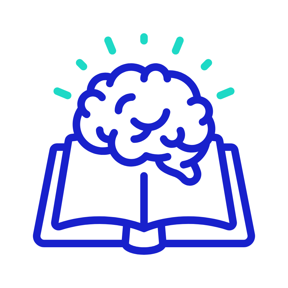 Icon: Book with a brain above