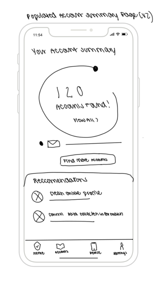 Sketch #3: Populated Account Summary Page