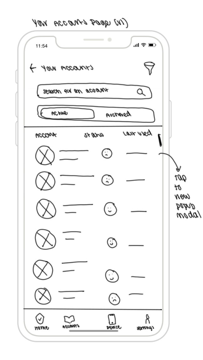 Sketch #4: Your Online Accounts Page