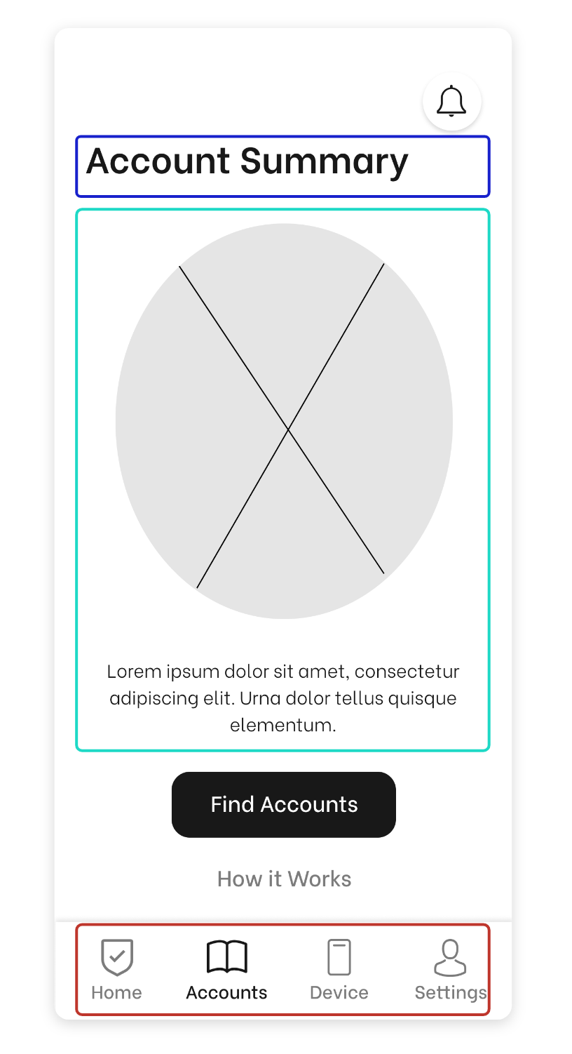 Wireframe Account Summary Page Version 1