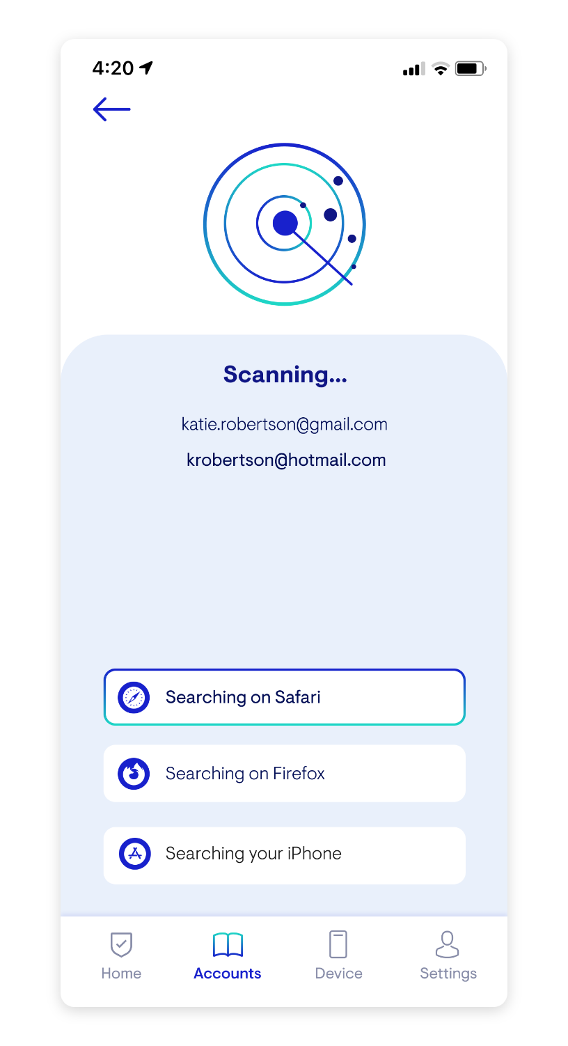 Hi Fi Mockup: Searching for Accounts Page