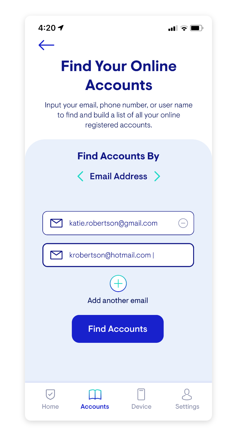 Hi Fi Mockup: Find your Online Accounts Page