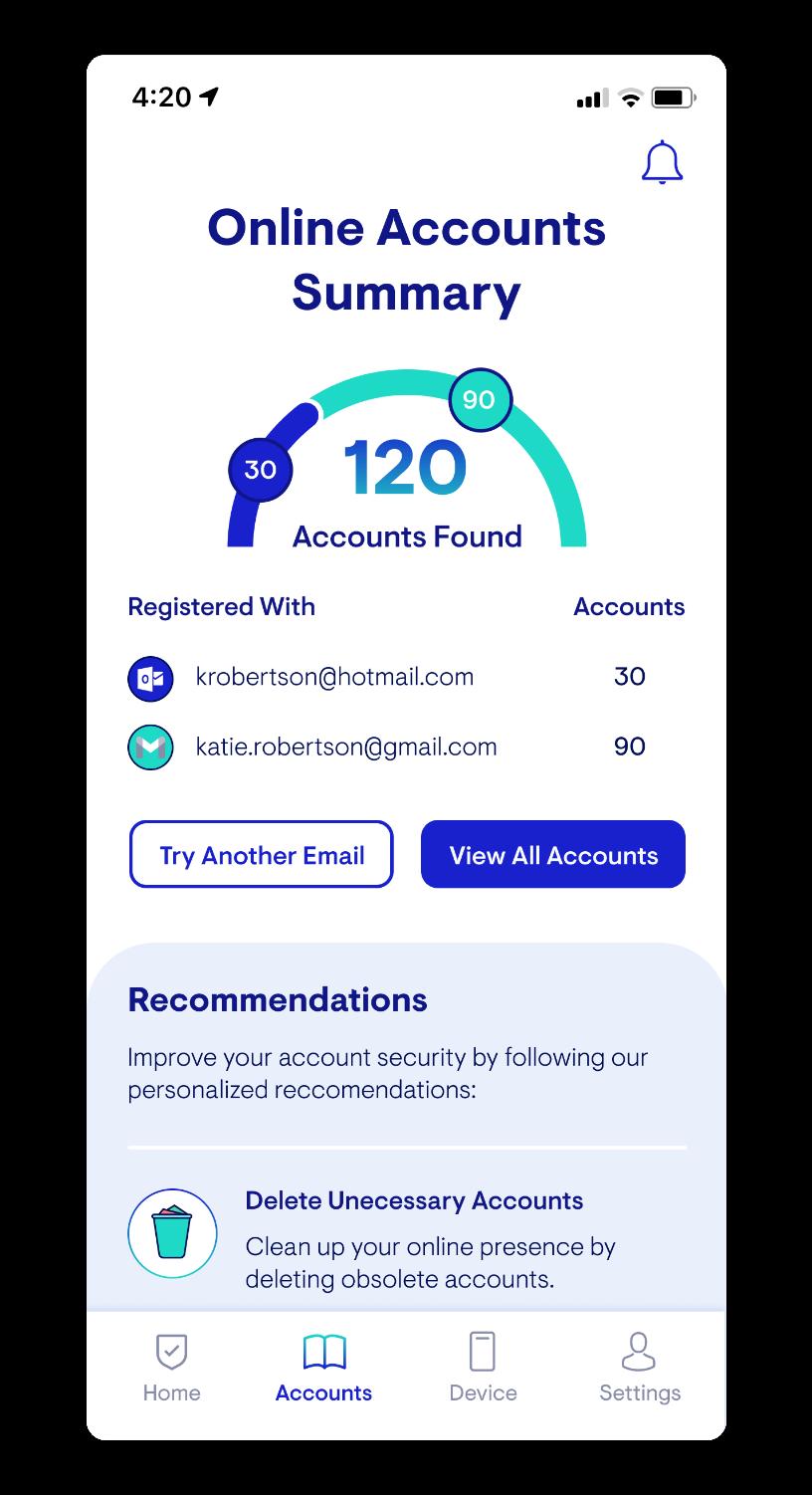Hi Fi Mockup: Populated Accounts Summary Page