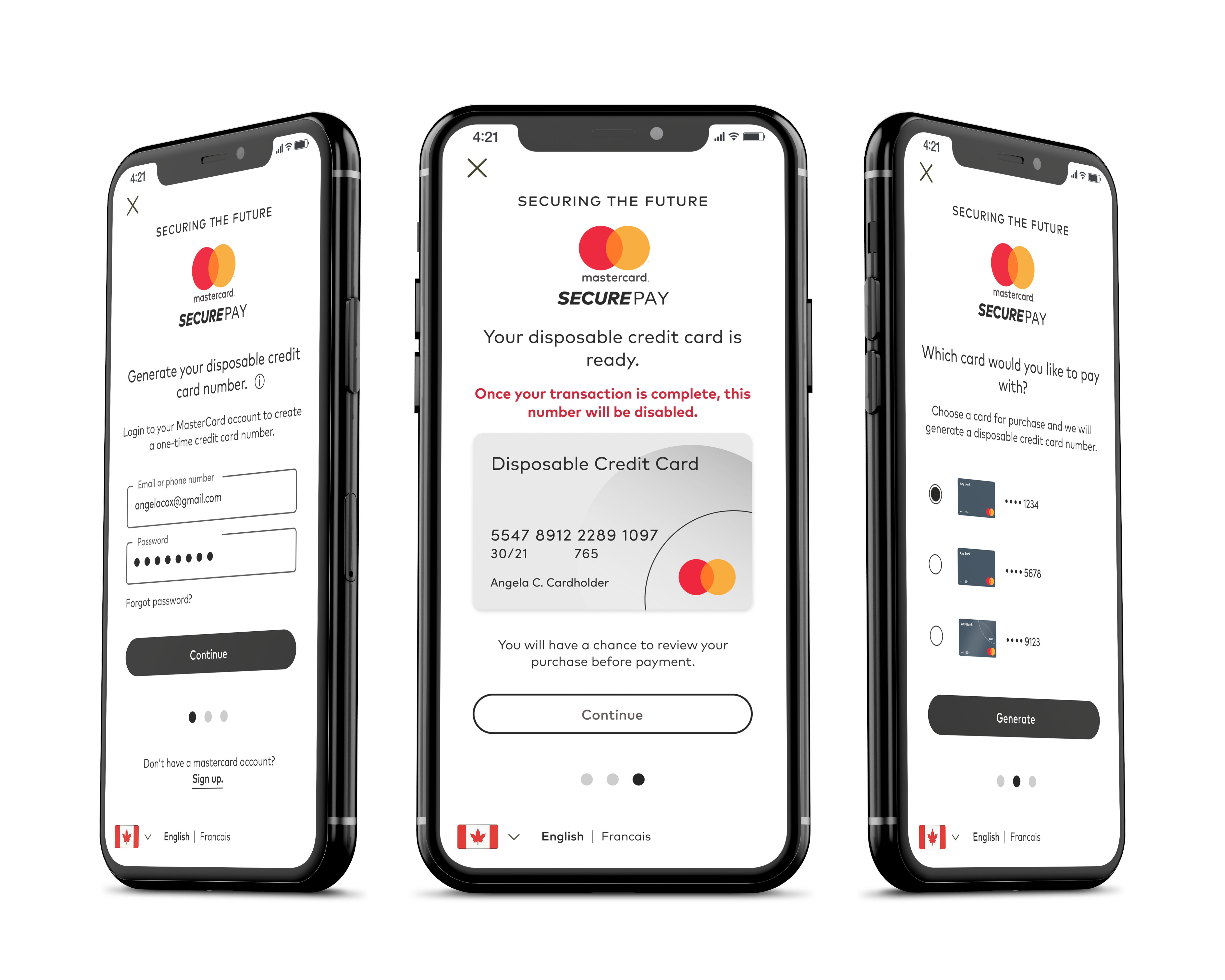 Mockup of SecurePay in iPhone
