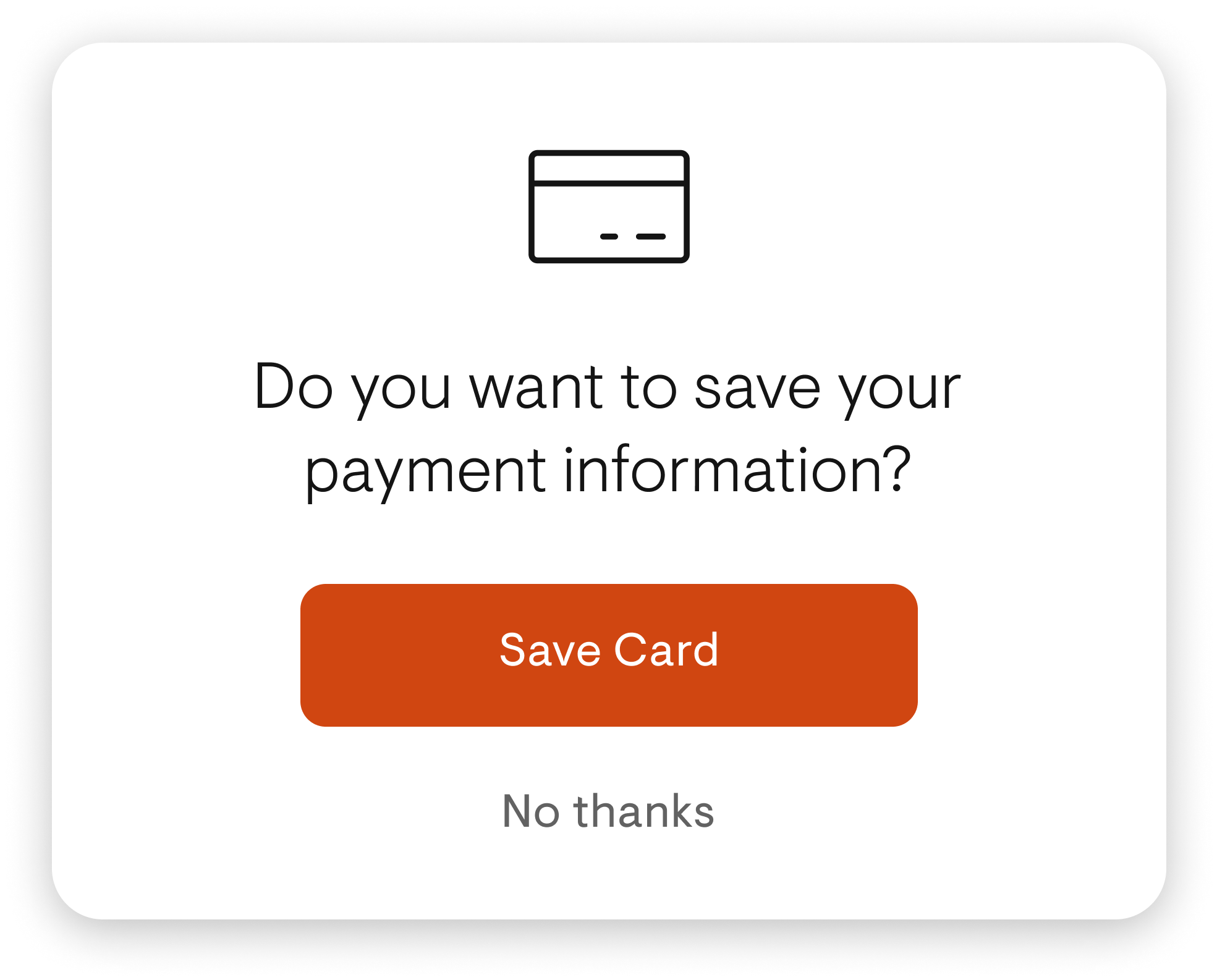 A popup modal asking user to save credit card