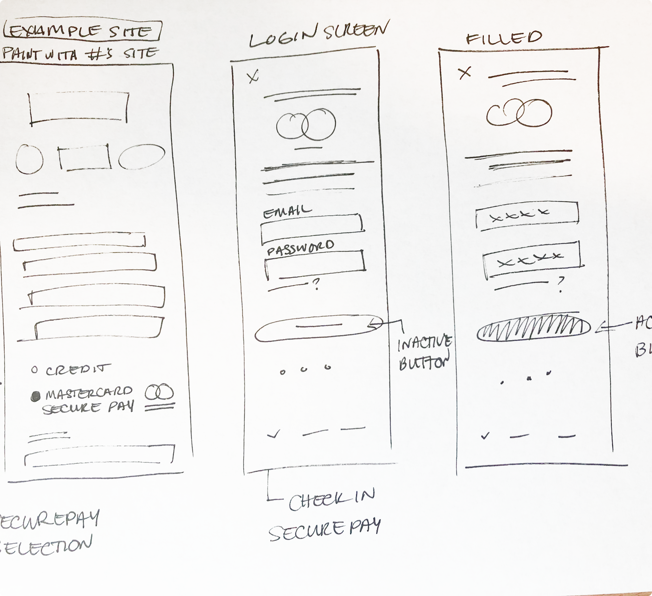 Sketches of app screens