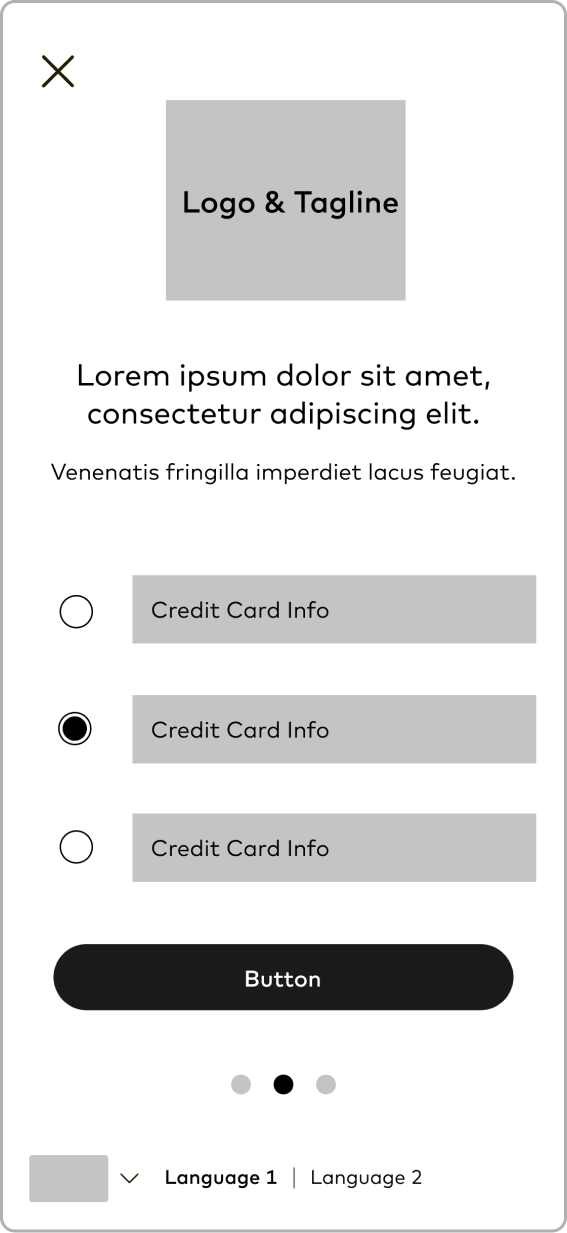 Wireframe: Select Credit Card