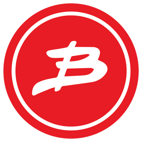 Benshi's logo, a red circle with a white B in the middle.