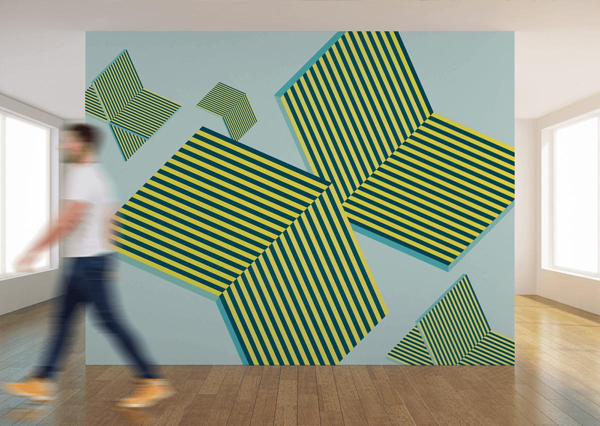 Design studio geometric wall graphic.