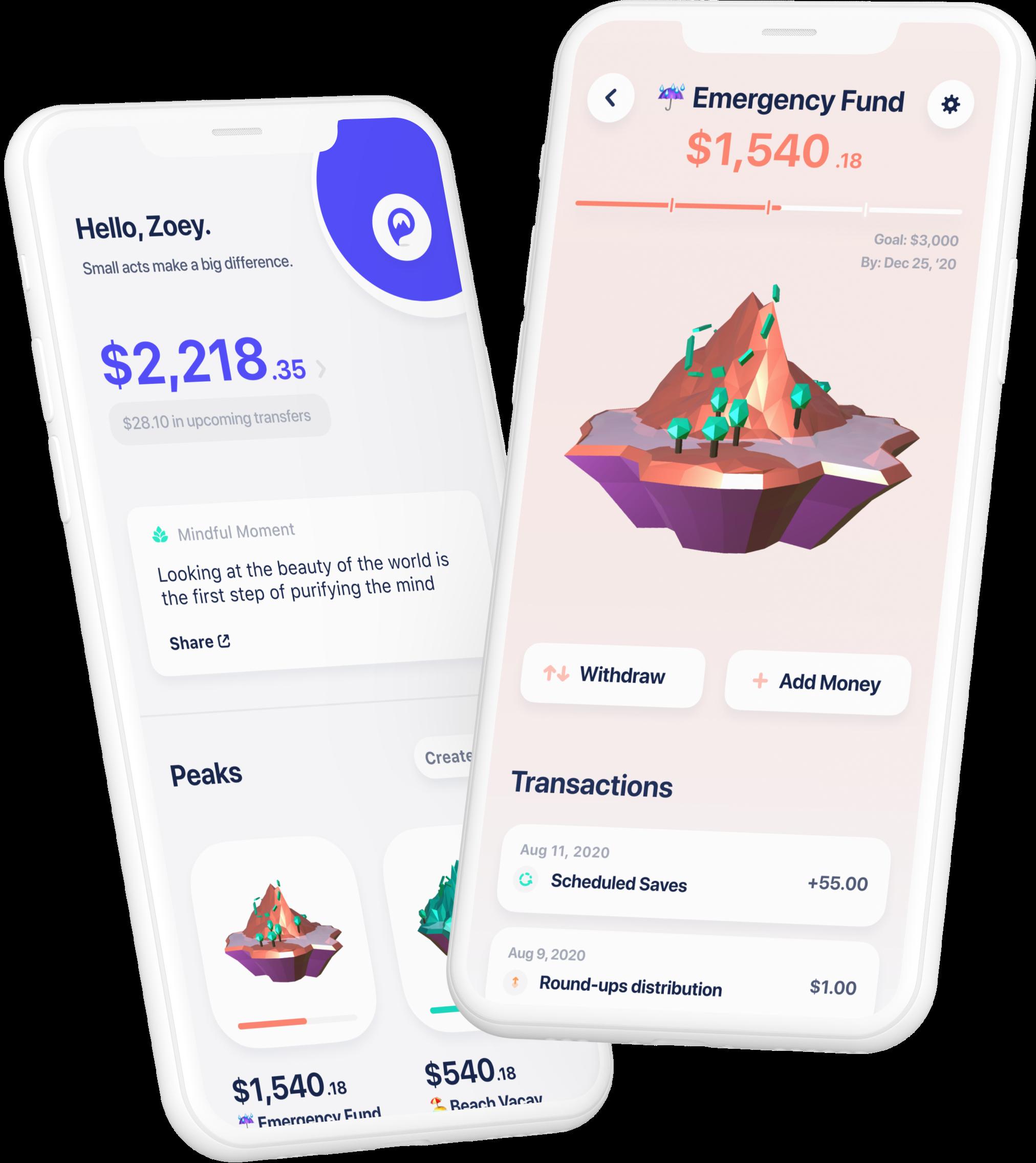 Two iPhone screens showing Peak Money app