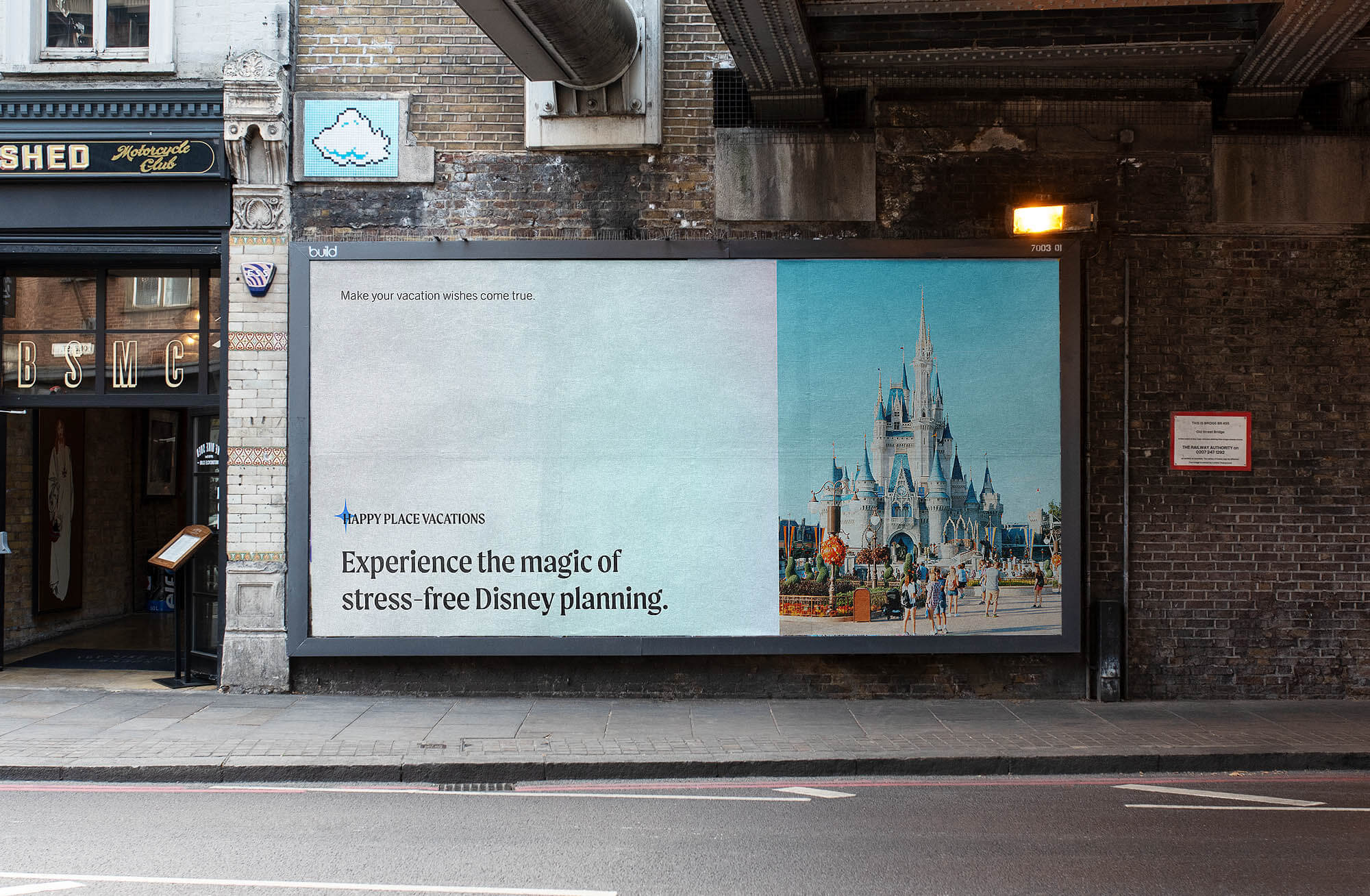 A billboard on an empty road designed for Happy Place Vacations