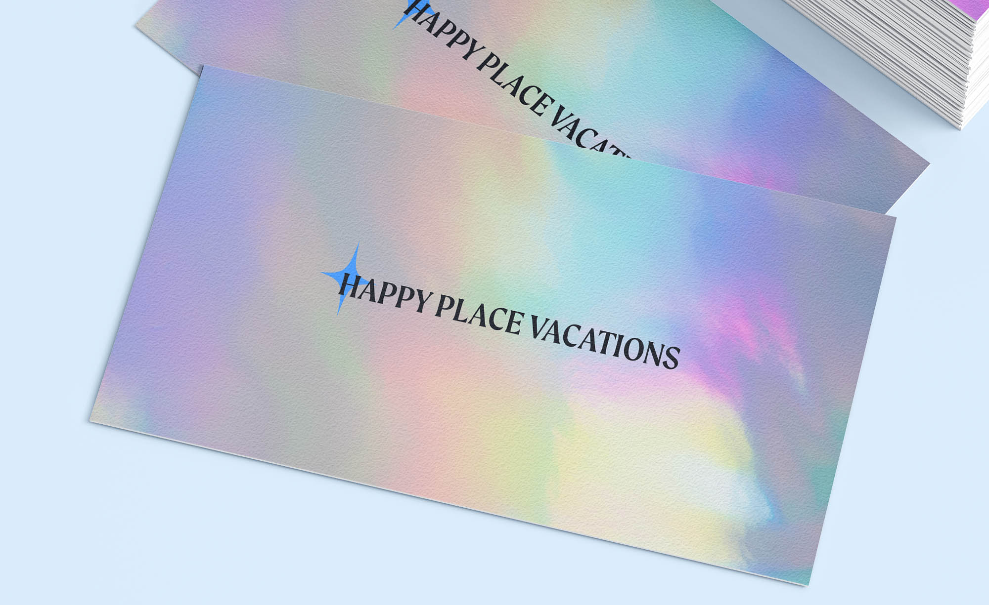 Business card design with Happy Place Vacations logo