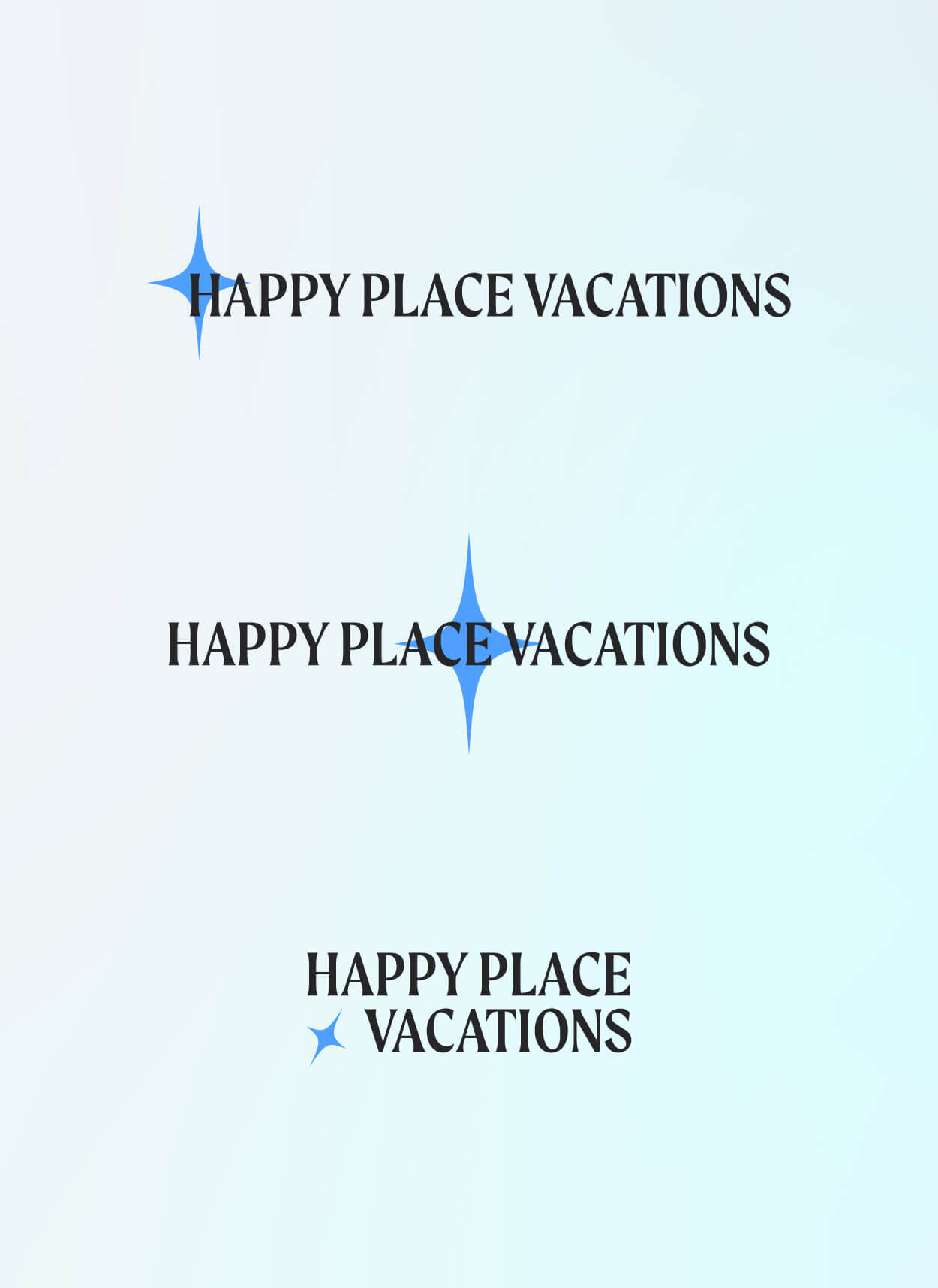 Three variants on the Happy Place Vacations logo
