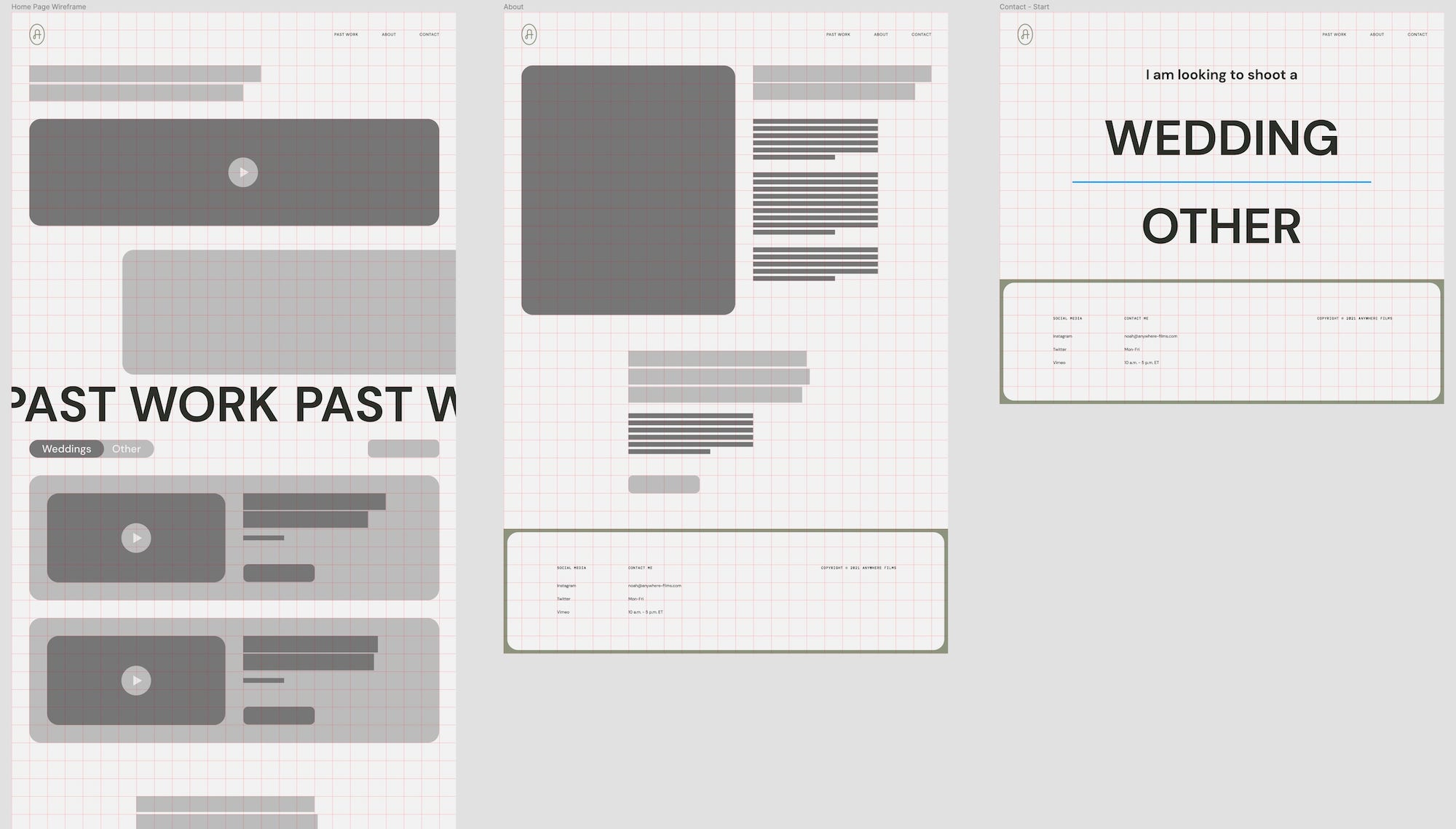 Website wireframes for Anywhere Films