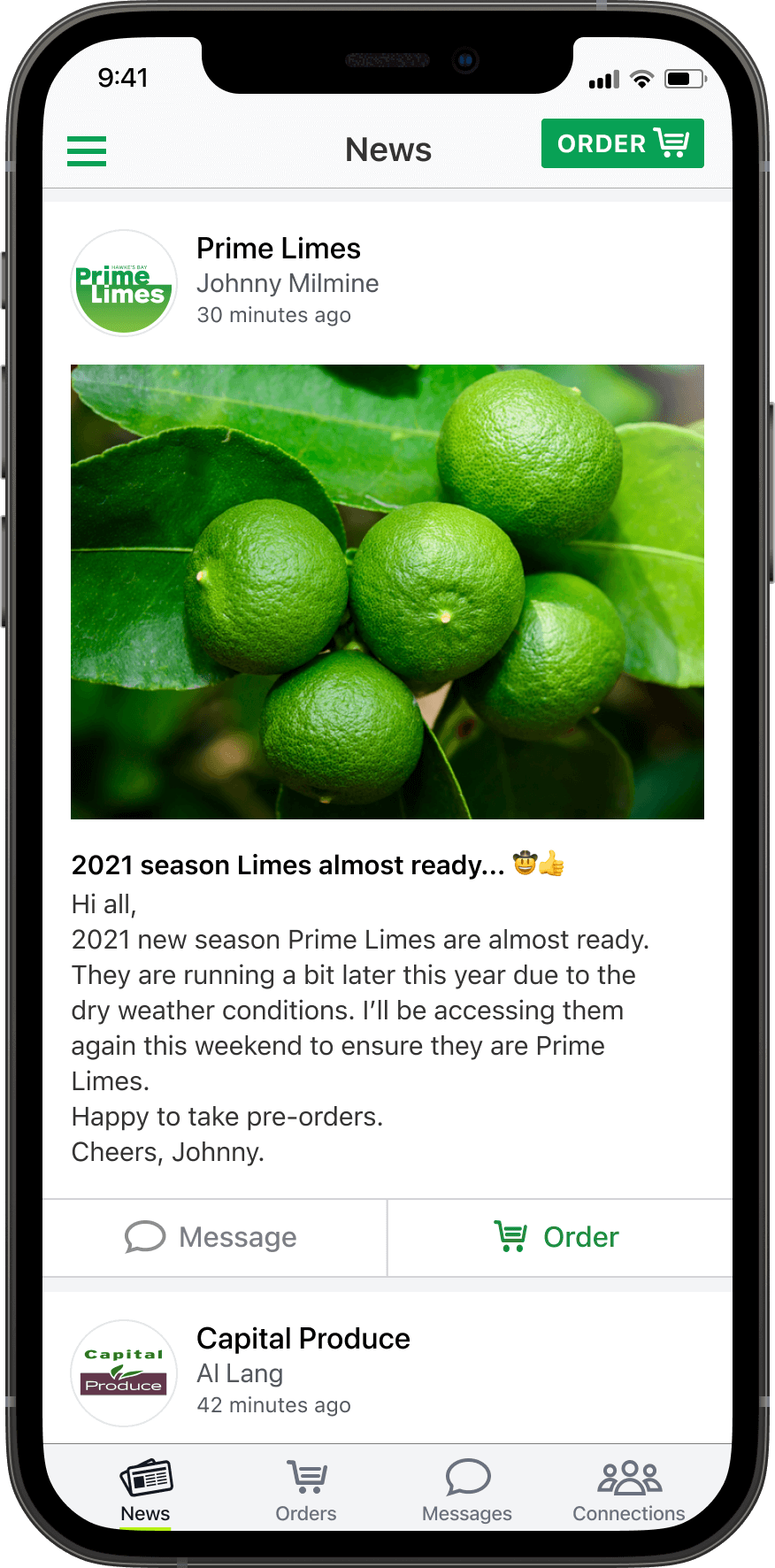 App on a smartphone showing a news feed with a news post about limes coming into season.