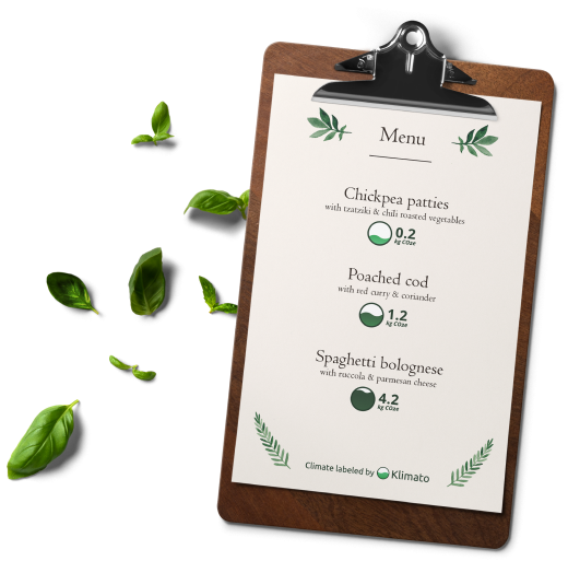 a menu with climate labels by klimato