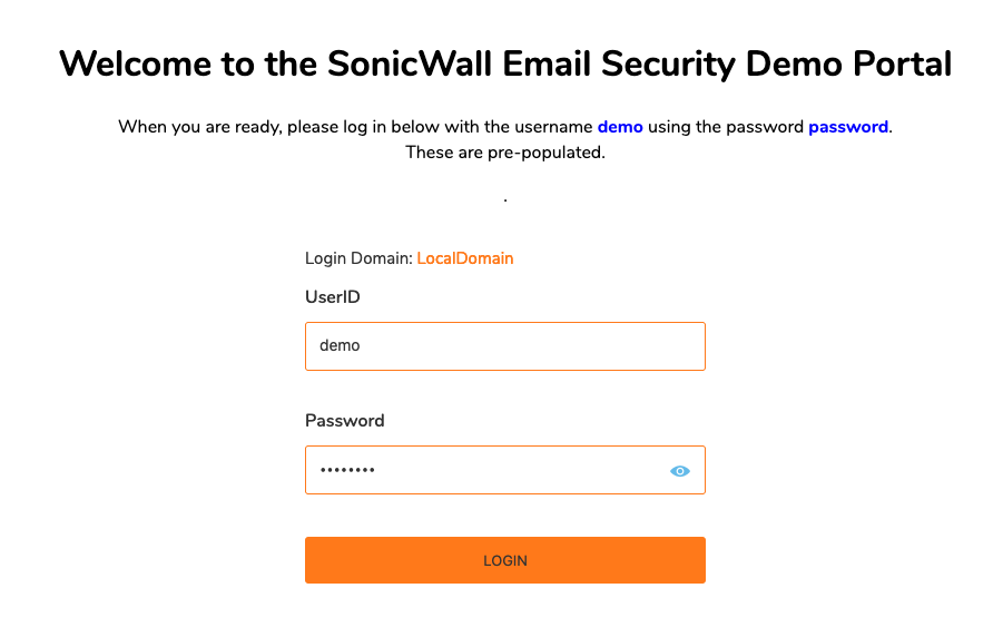 SonicWall Email Security Demo Portal
