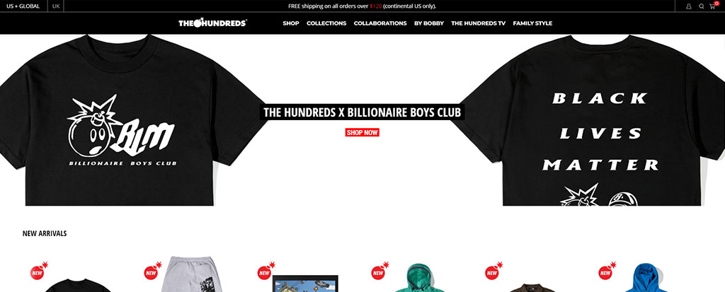Announcement Bar Shopify The Hundreds
