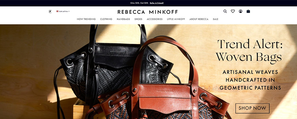 Rebecca Minkoff shopify top bar