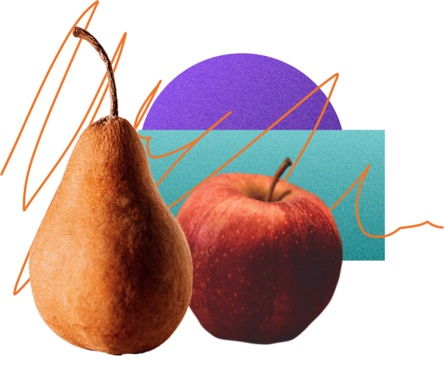 an apple and a pear on a collage of abstract shapes