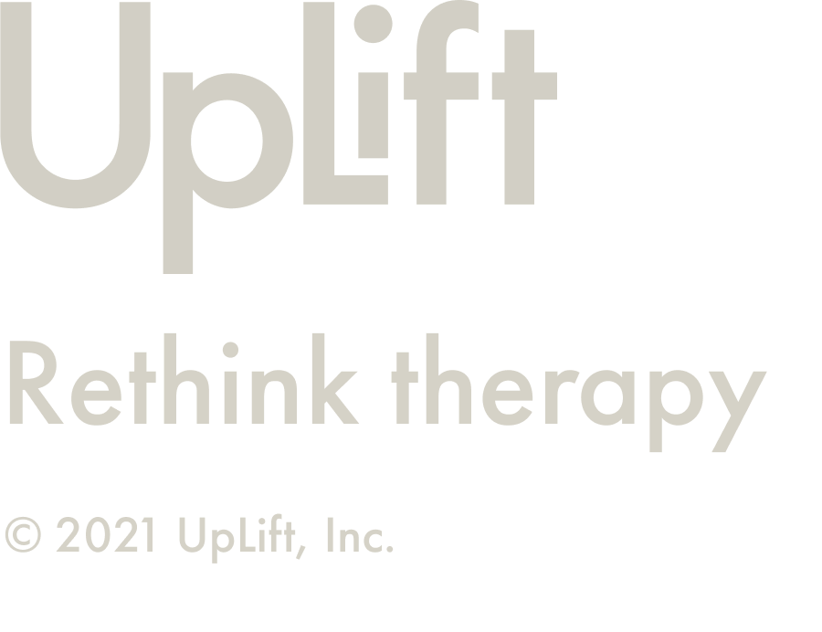 """Uplift Logo with tagline """"Rethink Therapy"""" and copyright"""