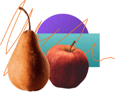 a pear sitting next to an apple over a collage of abstract images