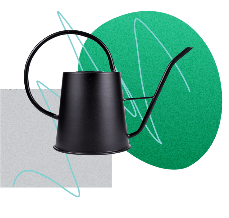 black watering can over abstract images