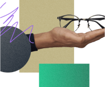 outstretched hand presenting glasses over a collage of abstract shaped