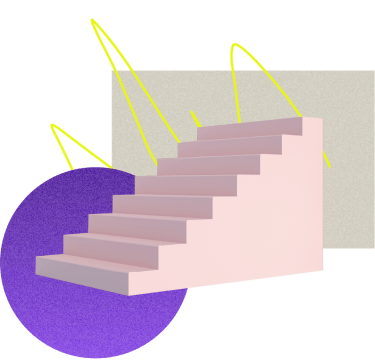 pink staircase leading up over collage of abstract shapes