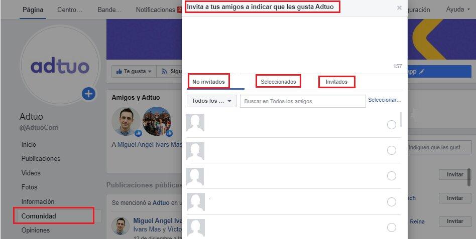 invita a tus amigos a tu página de facebook