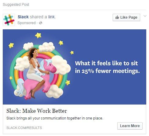 ejemplo Slack anuncios facebook